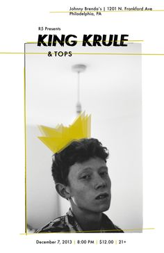 My unofficial King Krule Poster. Johnny Brenda's 12/7/2013. #design #posterdesign #graphicdesign #kingkrule