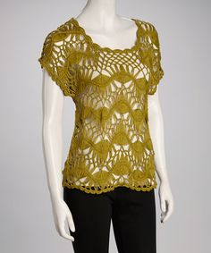 Take a look at this Green Crocheted Short-Sleeve Top by Pak International on #zulily today!