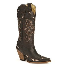 Corral women's stacked high heel western boots - snip toe ($200) found on Polyvore