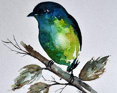 Aquarelle originale oiseau peinture Lime Green Bird 6 x 8 pouces
