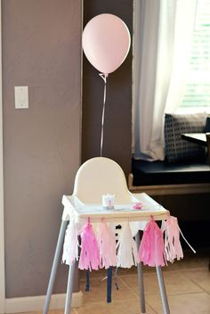 Highchair Decor For A 1 Year Old Little Girls Birthday Party Pink And Silver