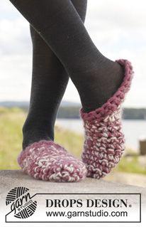 """Zapatillas de ganchillo DROPS en """"Eskimo"""" ~ DROPS Design"""