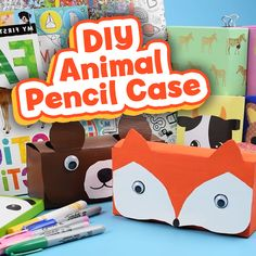 Simple DIY Animal Pencil Case A fun and simple way to make your very own pencil cases made from cereal boxes! A great upcycle diy Diy Crafts Pencil Case, Diy Pencil Case, Pencil Cases, School Pencil Case, Kids Pencil Box, Animal Pencil Case, Cereal Box Craft For Kids, Paper Crafts For Kids, Cereal Box Crafts