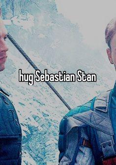 "Important. ""Hug Sebastian Stan"" - bucket list"