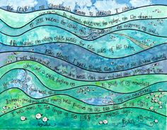 Psalm 23 Whimsical Scripture Art, Print of Watercolor, Christian art, green blue purple, the Lord is my Shepherd, teen decor or gift $20 for 8x10