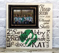 Personalized Picture frame, Personalized Girl Scout Picture Frame, Custom Troop Leader Gift, Gift Best Friend, Teacher Frame with Names by MadiKayDesigns on Etsy