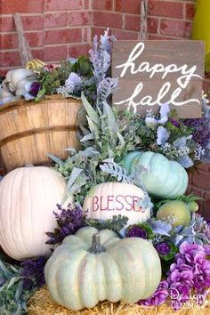 Fall pumpkin porch decor in plums, purples, blues and greens!   Design Dazzle