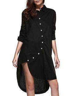 Women's Fashionable Long Sleeve Asymmetrical Shirt Dress