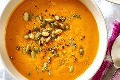 Think soup has to simmer all day? Think again. This warm, comforting number comes together in mere minutes. Best Pumpkin, Pumpkin Soup, Pumpkin Dessert, Canned Pumpkin, Dutch Oven Recipes, Cooking Recipes, Healthy Recipes, Savory Pumpkin Recipes, Toasted Pumpkin Seeds