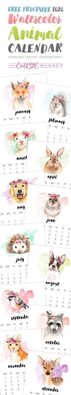 Free Printable 2020 Watercolor Animal Calendar that is just waiting for you to . Free Printable 2020 Watercolor Animal Calendar that is just waiting for you to . Print Calendar, Free Printable Calendar, Calendar 2020, Printable Planner, Free Printables, Calendar Design, Daily Calendar, Calendar Ideas, Printable Stickers