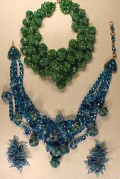 Two Coppola e Toppo Bead Necklaces 1960s Each with spheres of faceted beads, one azure green, the other electric blue; Together with Similar Earrings. Each marked.  Sold for $1,900