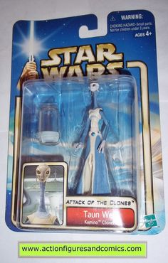 star wars action figures TAUN WE kamino cloner 2002 Attack of the clones saga movie hasbro toys moc mip mib
