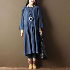 Women Pleated Casual Loose Pocket Blue Dress