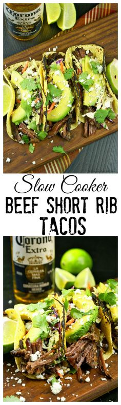 Slow cooker beef short rib tacos are loaded with melt in your mouth flavor.
