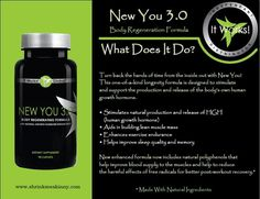 "$49 New You 3.0 - ""Turn back the hands of time."" Our body's production of human growth hormone (HGH) slows down after age 25 and decreases 80% by age 60.New You stimulates the natural production and release of our body's own HGH and slows down the aging process. Aids in building lean muscle mass, enhances exercise endurance, balances immune system, improves eyesight, and provides better sleep and memory. Also improves cholesterol and triglyceride levels in the blood. Great for men and women."