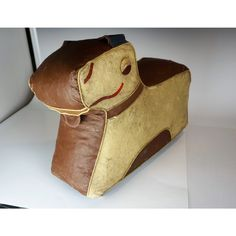Art Deco Dog Footstool Hassock by Relaxon Wooden Wheel, Sewing Stuffed Animals, Moleskine, Art Deco, Dog, Boots, Leather, Diy Dog, Crotch Boots