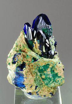 "Azurite ""sticks"" in a Azurite Malachite ""bowl"". Aesthetically fine specimen. From Tsumeb mine, Otjikoto Region, Tsumeb, Namibia"