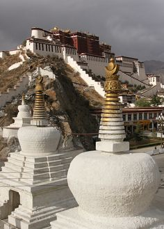 Stupas in front of the Potala Palace - Good Morning America's New Seven Wonders of the World