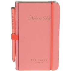 Ted Baker Women's Mini Notebook and Pen Coral design by Wild & Wolf (14 CAD) ❤ liked on Polyvore featuring home, home decor, stationery, fillers, books and notebooks