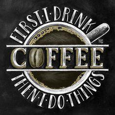 Muestra de café café decoración arte de la pizarra la tiza