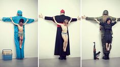 """The right to childhood should be untouchable....  The new series produced by Cuban artist Erik Ravelo was titled as """"The untouchables"""", are photographs of children crucified for his supposed oppressors, each for a different reason and a clear message, seeks to reaffirm the right of children to be protected and report abuse suffered by them especially in countries such as Brazil, Syria, Thailand, United States and Japan"""""""