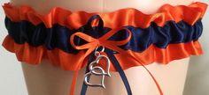 Orange and Navy Blue Wedding Garter, Prom Garter