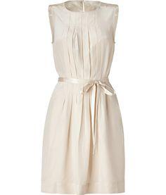 Tapioca Cream Streak Silk Dress