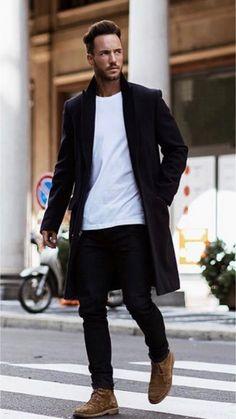 17 Ways to wear a coat! 17 Ways to wear a coat! Big Men Fashion, Fashion Mode, Urban Fashion, Trendy Fashion, Fashion Wear, Outfits Casual, Mode Outfits, Men Casual, Men Looks