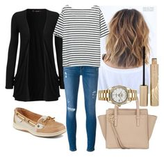 """""""Casual Monday"""" by emmasorrell on Polyvore featuring WearAll, Frame Denim, Sperry, Salvatore Ferragamo, Rolex and Stila"""