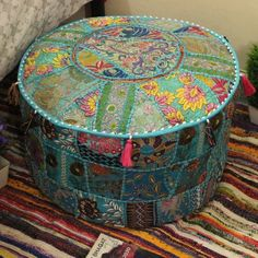 Your place to buy and sell all things handmade Ottoman, Hippie Bedroom Decor, Floor Pillows, Round Pillow, Ottoman Cover, Pillows, Footstool, Colorful Furniture, Pouf Ottoman