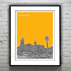 Granada Nicaragua Poster Art City Skyline Print by AnInspiredImage