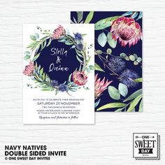 Protea Wedding Invitation Printable, Australian, Eucalyptus Leaves, Gum Leaves, Navy, Native Flowers, Nature, Spring Wedding, prink and navy by OneSweetDayInvites on Etsy