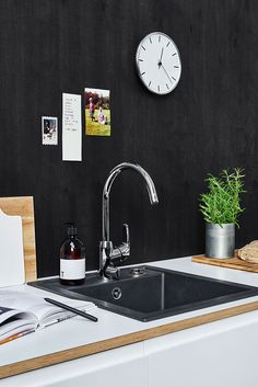 Timeless kitchen design - Oras Safira kitchen faucet 1029F has a new side lever which brings beauty and practicality to the kitchen.
