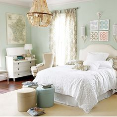 Spare bedroom style. Soft sage, rose gold and neutrals. Fresh and relaxing.