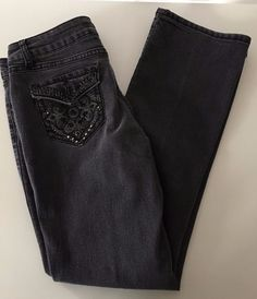 One 5 One Women's Gray Embellished Straight Leg Jeans Sz 6 GUC Bling Pockets-156 #one5one #StraightLeg