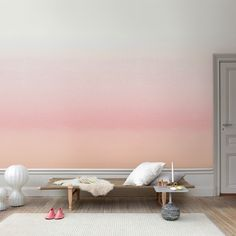 Emphasize living room wall design with color-Ombre wall Watercolor Wallpaper, Watercolor Walls, Pink Wallpaper, Wallpaper Direct, Striped Wallpaper, Pink Watercolor, Swedish Wallpaper, Sunrise Wallpaper, Perfect Wallpaper