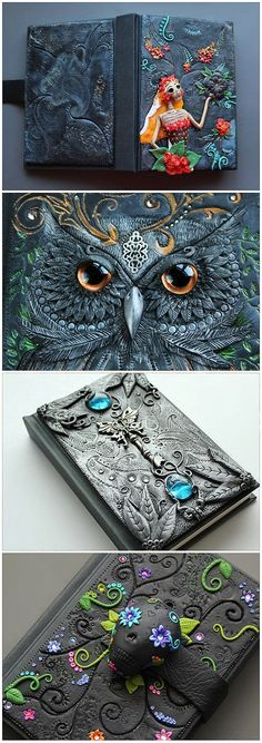 "Yes, it is polymer clay - Journals by Etsy seller MyMandarinDucky. She makes some amazing things!""--Polymer Clay on a journal."" I love the owl one! Polymer Clay Kunst, Fimo Clay, Polymer Clay Projects, Polymer Clay Creations, Diy Fimo, Crea Fimo, Journal Covers, Book Of Shadows, Clay Tutorials"