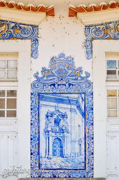 Aveiro Train Station (Central Portugal) by Gail Edwin Aguiar Tile Murals, Tile Art, Mosaic Tiles, Cultural Architecture, Ancient Architecture, Estilo Colonial, Portugal Vacation, Old Train Station, Portuguese Tiles