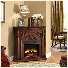 "42"" Corner Cherry Fireplace at Big Lots."