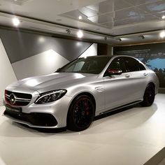 """""""Silver & Red? This is the brand-new Mercedes-AMG C 63 S Edition 1! Photo by @theblackdrone [Combined fuel consumption: 8.4-8.2 l/100km 