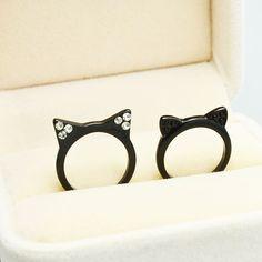 Nueva moda accesorios joyería lindo gatito negro orejas de gato anillo de dedo para para la muchacha del bonito regalo R1498