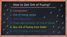 Orb of fusing recipe Picking up orb of fusing that dropped Trade poe currency for orb of fusing Buy orb of fusing from Seller Orb of fusing divination card Farming Guide, Divination Cards, Recipes, Ripped Recipes, Cooking Recipes, Medical Prescription, Recipe