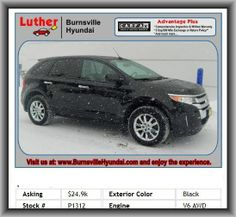 2011 Ford Edge SEL SUV   Heated Passenger Mirror, Metal-Look Door Trim, Bucket Front Seats, Fuel Type: Regular Unleaded, Total Number Of Speakers: 6, Metal-Look Dash Trim, Front Head Room: 40.0, Transmission Hill Holder, Strut Front Suspension, 1St And 2Nd Row Curtain Head Airbags, Rear Shoulder Room: 58.7, Independent Rear Suspension, Rear Seats Center Armrest, 580 Lbs.,