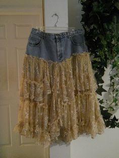 repurposed denim skirt | Denim repurposed to skirt with vintage lace ruffled tiers - love the ...