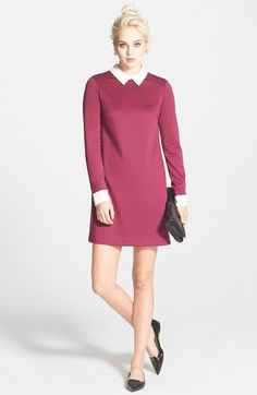 NAS: Cynthia Steffe Collared Ponte Knit Shift Dress available at #Nordstrom