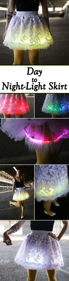 This tutu has a hidden LED strip underneath that is remote controlled. It's perfect for any nighttime party!