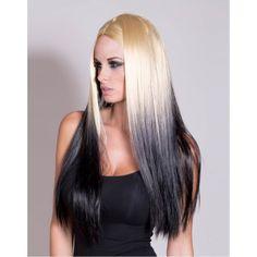 Reverse Blonde Ombre | ... Dye / Ombre Wigs » Mollie - Golden Blonde and Black Reverse Ombre Wig