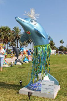 Sponsor:  Clearwater Solid Waste  Artists:  Garden Fairies   Photo credit:  Jay Richmond Photography  One of 50 themed dolphins on display at Pier 60 Park, #Clearwater Beach, until 9/4/12.  #ClearwatersDolphins