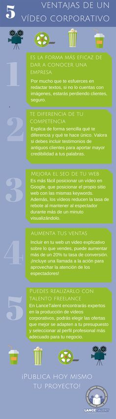 5 ventajas de un vídeo corporativo #infografia #infographic #marketing