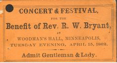 When Woodman's Hall opened above a drugstore at  Washington and Second Avenues in 1858, it became the first performance space in Minneapolis. By the time this concert and festival was planned in 1862, there were multiple options to choose from in the rapidly growing city, although the first more formal dedicated theater would not open until 1867. From the Hennepin History Museum collection.